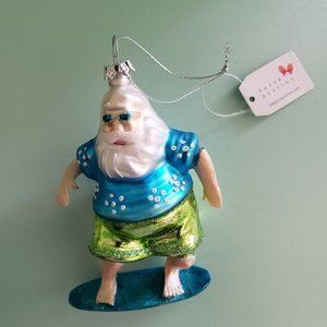 Paper Destiny Surfing Santa Christmas Ornament - NWT